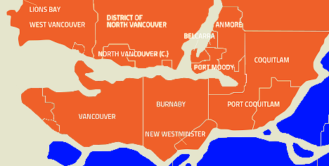 Map of our service area in Vancouver.